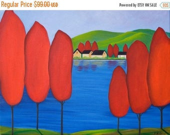 """Art painting Landscape Original artwork Oil Painting red green blue canvas art Wall art wall decor shabby chic """"By The River"""" by qiqigallery"""