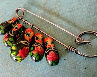 Vintage Matryoshka Russian stacking doll brooch