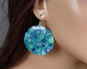 Polymer clay round dangle earrings, abstract design, blues, greens, ooak