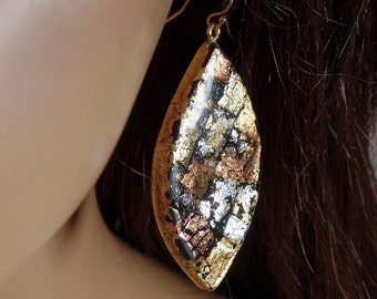 Polymer clay dangle earrings with silver, copper and gold foil