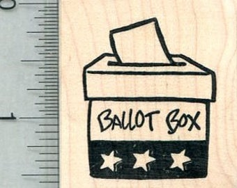 Ballot Box Rubber Stamp, Voting Rights Series E32009 Wood Mounted