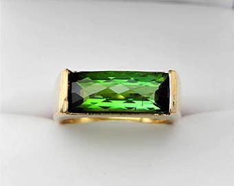 AAAA Bi Color Green Tourmaline 15x6mm 4.17 carats in 14K yellow gold ring 2160
