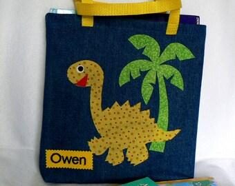 Dinosaur Tote Bag|Easter Gift Bag|Personalized Tote Bag|Toddler Tote Bag|Preschool Bag|Book Bag|Kindergarten Bag|Summer Book Bag