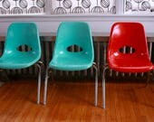 Reserved for Tif...Vintage Krueger fiberglass childrens chairs set of four orange turquoise grey
