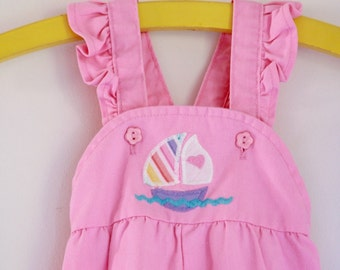 Vintage pink overalls with ruffle straps by Healthtex 12 to 18 months