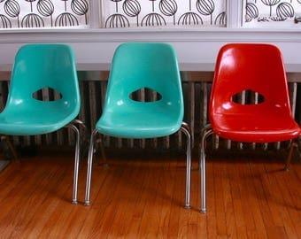 Reserved for Tif...Vintage Krueger fiberglass childrens chairs set of four orange turquoise grey