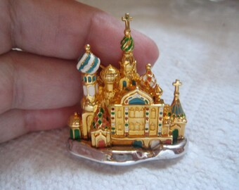 Joan Rivers Russian Cathedral Pin in Gold and Enamel Magnificent Depiction of Russian Architecture