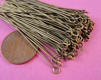 250 pcs of  Antiqued Brass eyepins, 50mm,  21 gauge, HP7519