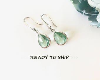 RTS Light aqua earrings Light Blue Earrings, CZ Encrusted Framed Glass Earrings, something blue, pale blue, tiffany blue earrings, jewelry