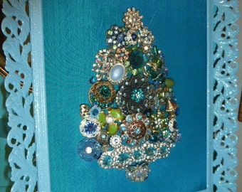 Gorgeous Vintage Inspired Framed Jewelry Christmas Tree Art OOAK Aqua
