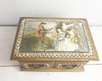 Vintage Wood Jewelry Box with Satin Portrait Lid- Made in Japan