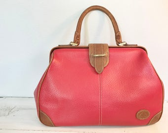 Vintage Red Leather Liz Claiborne Doctor Style Large Satchel