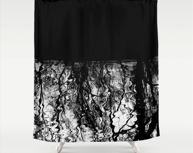 black and white tree branch silhouette reflection in water fabric shower curtain graphic nature