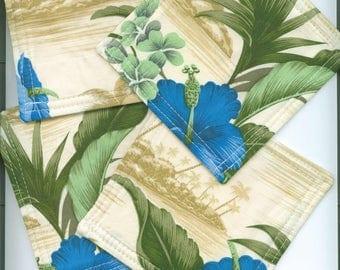 Mug Rug ,Set of 4, TROPICAL, Blue and Tan, Fabric Coasters, Handmade, Hostess Gift, FREE Shipping in USet