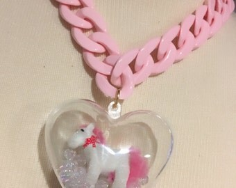 Puffy Heart With Flocked Pony And Sparkly Beads Pink Heavy Plastic Chain Necklace