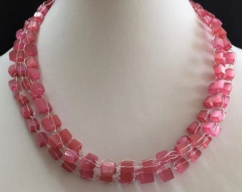 Hand Made Crochet Necklace with Pink Glass.