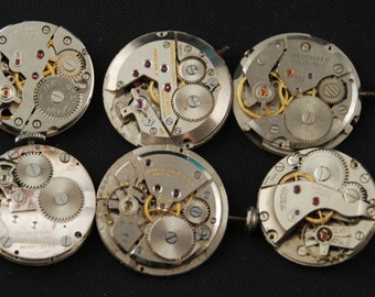 Vintage Antique Round Watch Movements Steampunk Altered Art Assemblage RE 65