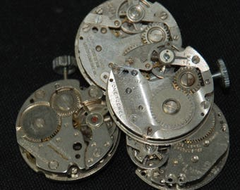 Vintage Antique Round Watch Movements Steampunk Altered Art Assemblage RB 6