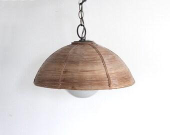 Round Modern Rattan Hanging Pendant Light Chandelier