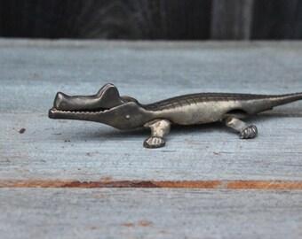 Solid Brass Alligator Nutcracker