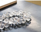 Final 51% off Sale Rock Crystal Quartz Gemstone Briolette Faceted Onion 8mm 1/2 Strand 22 beads