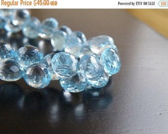Black Friday Sale Sky Blue Topaz Gemstone Briolette Faceted Onion Drop 8mm 10 beads