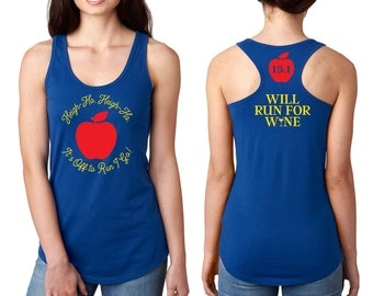 Snow White Running Tank Shirt Front, Back - Heigh Ho Off To Run I Go, I'm Wishing - Apple, 13.1, 26.2, Will Run For Wine - Red, Blue, Yellow