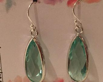 Sterling Prasiolite Light Green Long Tear Drop Silver Earrings