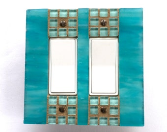 Decorative Wall Switch Plate, Turquoise Light Switch Cover, Stained Glass Switch Plate Covers, Decorative Outlet Covers, Dimmer Switch, 8516