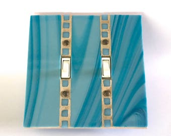 Turquoise Wall Plate, Decorative Switch Plate Covers, Glass Light Switch Cover, Lightswitch Plate, Wall Switch Plate, Stained Glass, 8620
