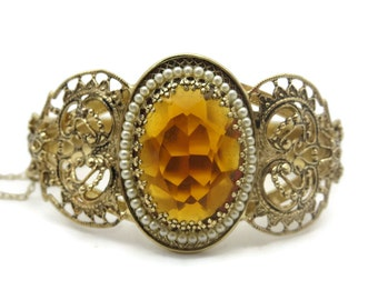 Hinged Bangle Bracelet - Victorian Style 1960s, Filigree, Amber Glass and Seed Pearls