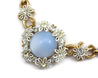 Rhinestone and Blue Moonglow Lucite Necklace - White Enamel Flowers, Costume Jewelry