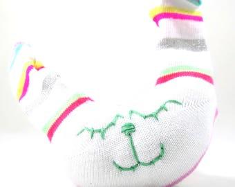 NEW* Sock Bunny Rabbit Rattle SABA - handmade, white, rainbow stripe, baby, newborn gift.