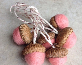 6 wool felted acorn ornaments bubblegum
