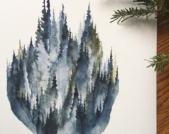In the Fog- Watercolor Art Print - pine trees, forest, moss, olive, fog, mountain, evening, treeline, nature, north woods