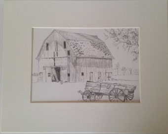 Barn and Vintage Wagon Graphite Print  5x7 matted