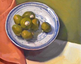 "Art painting still life by Sarah Sedwick ""Garlic-Stuffed Olives"" 8x8"""