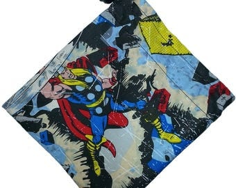 Drawstring Dice Bag with lining and stopper toggles [Marvel Avengers pattern]