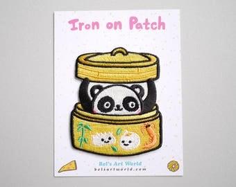 Dim Sum Panda Iron On Patch