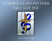 Stained Glass Pattern, Cross, Music Clef Pattern, Full Size, PDF File