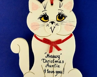 0021 Cat shape. Free shipping. Message shown is a suggestion. Ornaments can be written with a message/name/date of your choice.