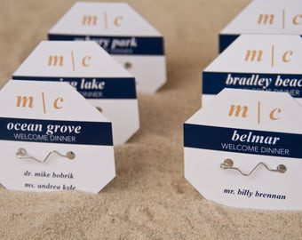Beach Badge Wedding Place Cards | Beach Tag Escort Cards | Modern Monogram Wedding Seating Cards Deposit