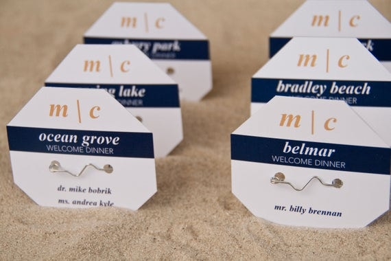 Beach Badge Wedding Place Cards Beach Tag Escort Cards Modern