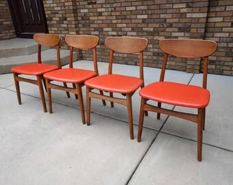 4 KOSUGA danish modern mid century teak dining chairs MADE in JAPAN