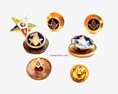 Vintage Enamel Freemason Pins / Badges / Jewelry, Tac Pin, Lapel Pin, Mason, Freemasonic