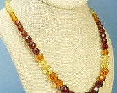 Vintage Amber Glass Faceted Crystal Bead Necklace