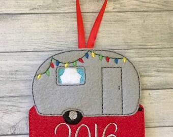 Adorable camper personalized felt Christmas ornament