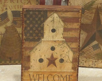 Wood Patriotic Block Bird House and Welcome Flag
