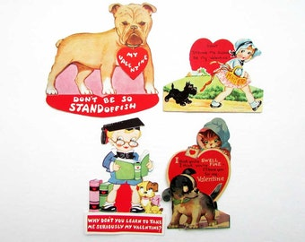 Lot of 4 Vintage 1950 Child's Valentine Cards with Dogs and Kids, Valentine's Day,  Scrapbooking,  Valentine Collector Cards, Dog Images