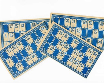 Set of 4 Antique 1920 Vintage Blue and Tan Lotto Game Cards for Scrapbooks, Journals, Crafting, Paper Ephemera, Lotto Cards